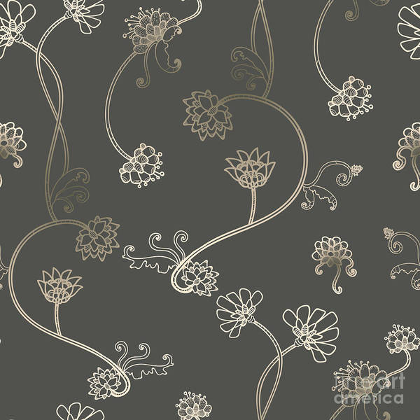 Wall Art - Digital Art - Seamless Flower, Floral, Abstract by Gluiki
