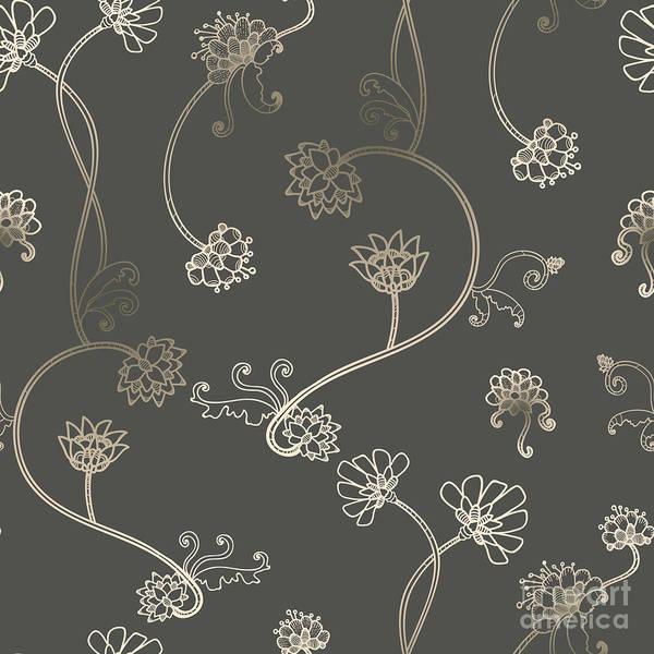Stalk Wall Art - Digital Art - Seamless Flower, Floral, Abstract by Gluiki