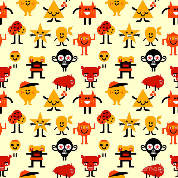 Wall Art - Digital Art - Seamless Funny Monsters Pattern. Vector by Palform