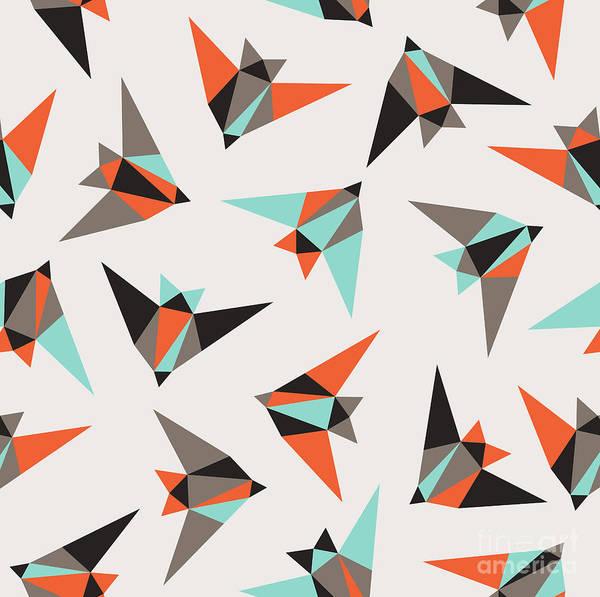Wall Art - Digital Art - Seamless Geometric Pattern. Flying Birds by Graphiteska