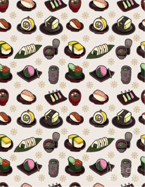 Wall Art - Digital Art - Seamless Japanese Food Pattern by Notkoo