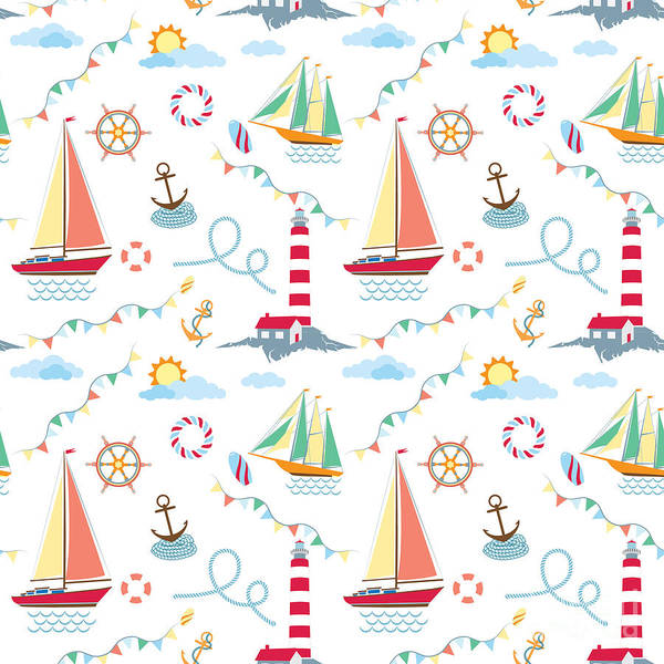 Yacht Wall Art - Digital Art - Seamless Marine Pattern With Ships by Julia kondakov