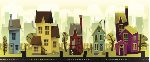 Grass Tree Digital Art - Seamless Neighborhood by Doodlemachine
