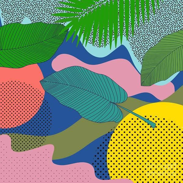 Memphis Design Wall Art - Digital Art - Seamless Pattern Leaves In Hipster by Елена Верхотурова