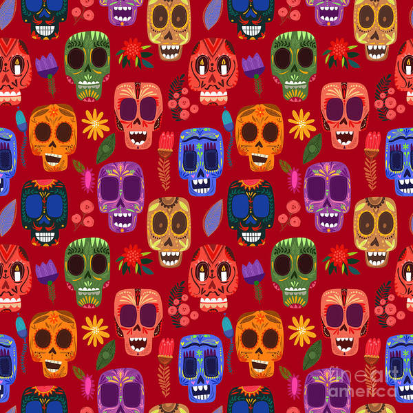 Wall Art - Digital Art - Seamless Pattern-mexican Day Of The by Ovocheva