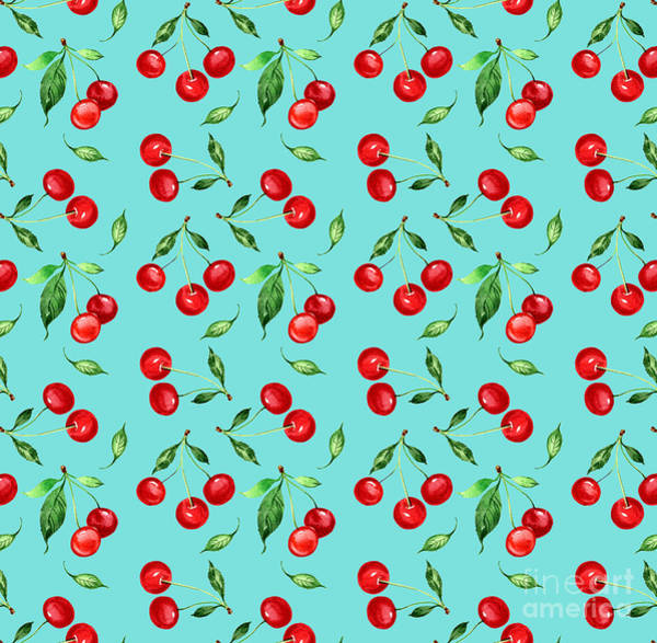 Hand Painted Wall Art - Digital Art - Seamless Pattern Of Cherry -1 by Chekmareva Irina