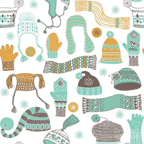 Seamless Pattern Of Winter Woollies Art Print by Lavandaart