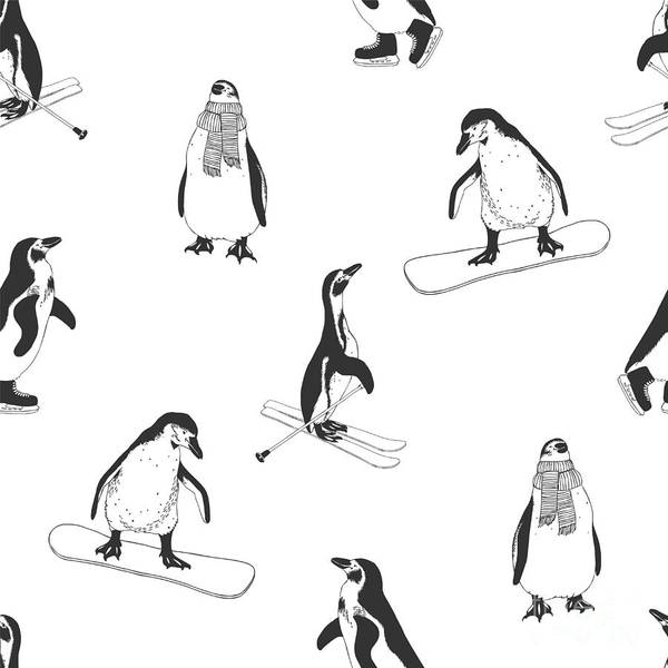 Wall Art - Digital Art - Seamless Pattern - Penguins. Winter by Crazy Nook