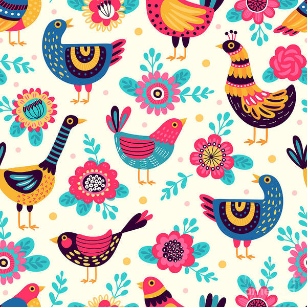 Stylized Wall Art - Digital Art - Seamless Pattern With Birds And by Xenia ok