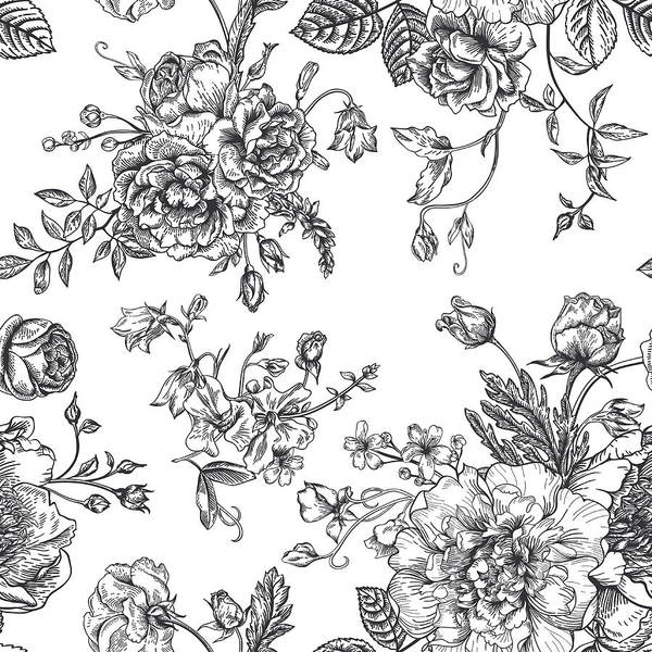 Etching Wall Art - Digital Art - Seamless  Pattern With Bouquet Of by Nata slavetskaya