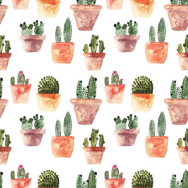 Wall Art - Digital Art - Seamless Pattern With Cactus by Samburova Maria