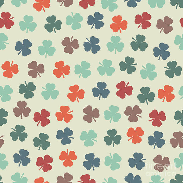 Wall Art - Digital Art - Seamless Pattern With Clover. St by Olgasha