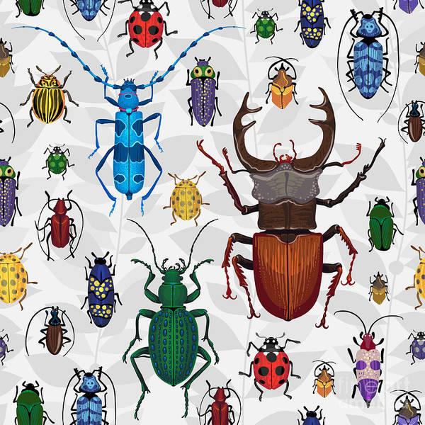 Science Education Wall Art - Digital Art - Seamless Pattern With Colorful Bugs by Anna Poguliaeva