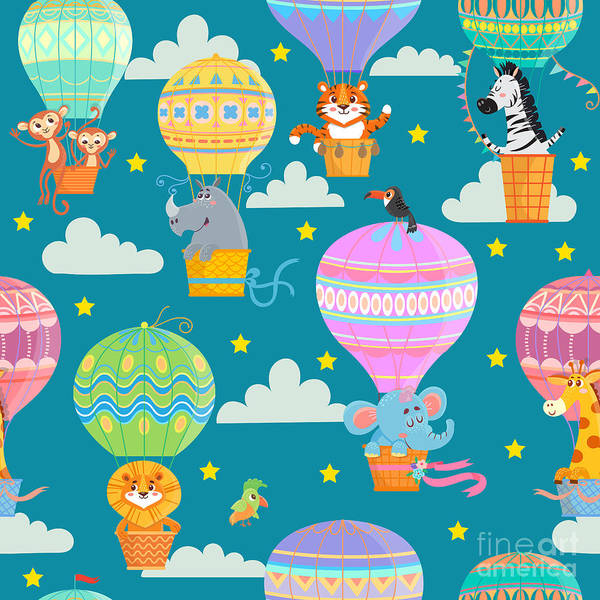 Wall Art - Digital Art - Seamless Pattern With Colorful  Hot Air by Oreshcka