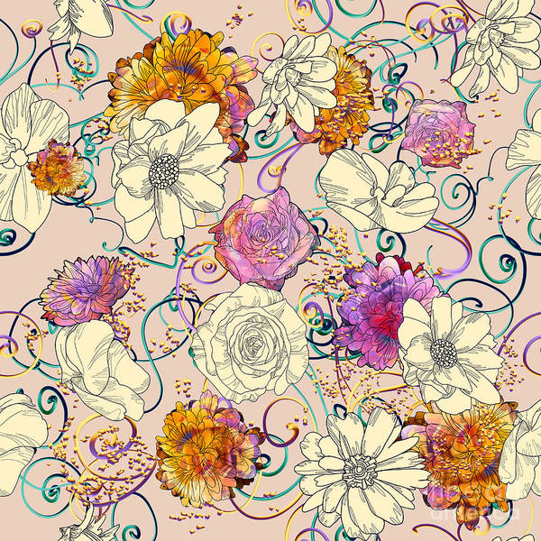 Vines Wall Art - Digital Art - Seamless Pattern With Colorful by Tithi Luadthong