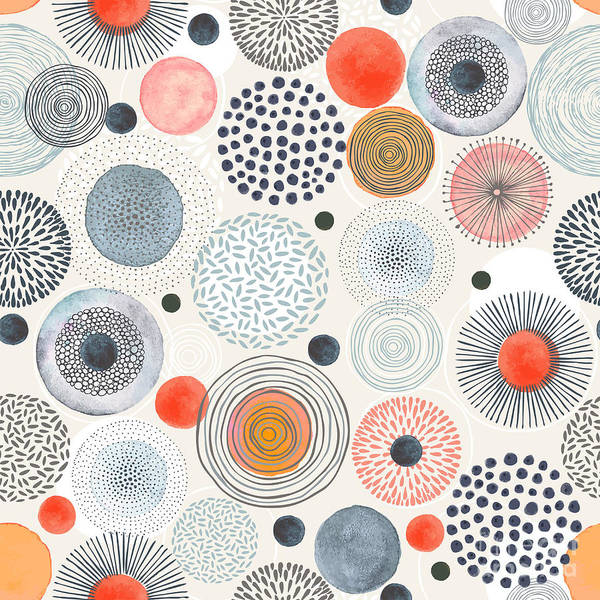 Repetition Wall Art - Digital Art - Seamless Pattern With Doodle Circles by Nikiparonak
