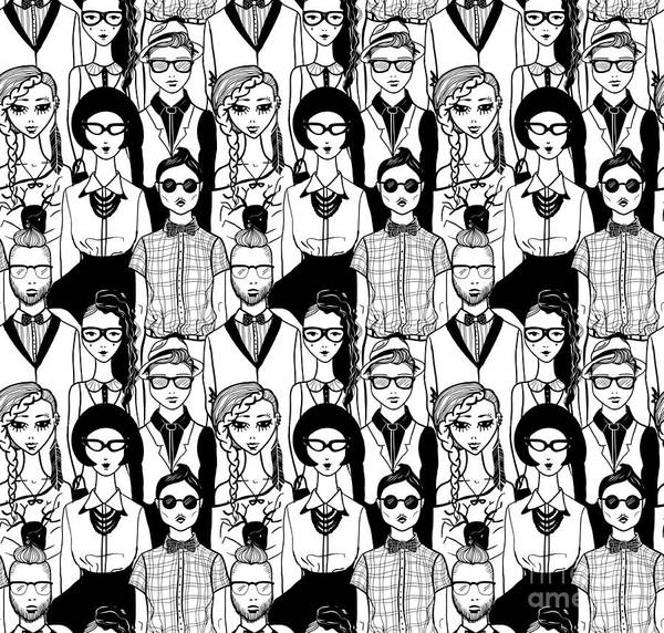 Stylish Wall Art - Digital Art - Seamless Pattern With Hipsters. Raster by Fears