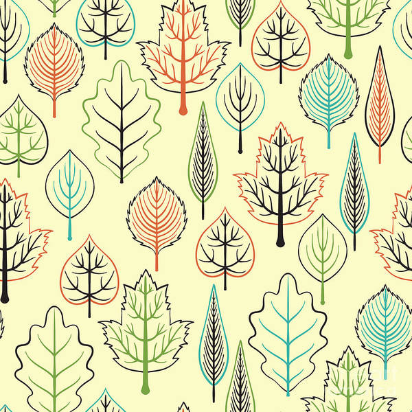 Repetition Wall Art - Digital Art - Seamless Pattern With Leaf, Autumn Leaf by Nastyasigne