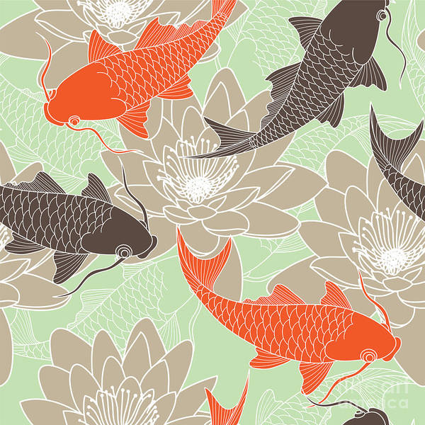 Wall Art - Digital Art - Seamless Pattern With Lotus And Carps by Tets