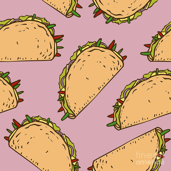 Wall Art - Digital Art - Seamless Pattern With Mexican Taco In by Koshelev Alexey