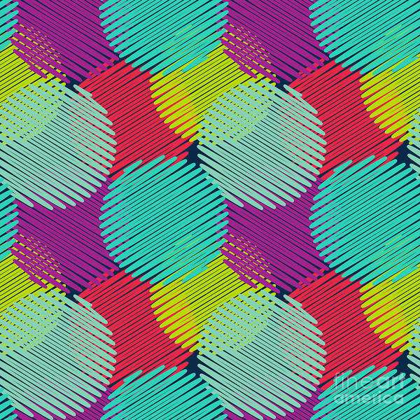 Wall Art - Digital Art - Seamless Pattern With Multicolored by Elyomys