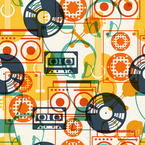 Sounds Wall Art - Digital Art - Seamless Pattern With Musical by Incomible