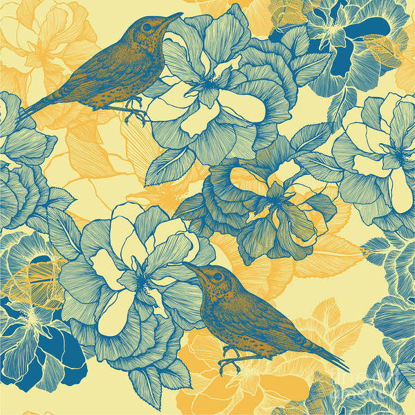 Seamless Pattern With Roses And Bird Art Print