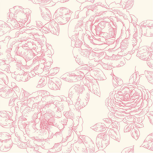 Rose Bud Digital Art - Seamless Pattern With Roses by Aromanta