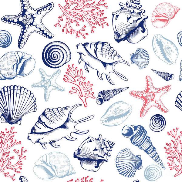Wall Art - Digital Art - Seamless Pattern With Seashells, Corals by Anna zubkova
