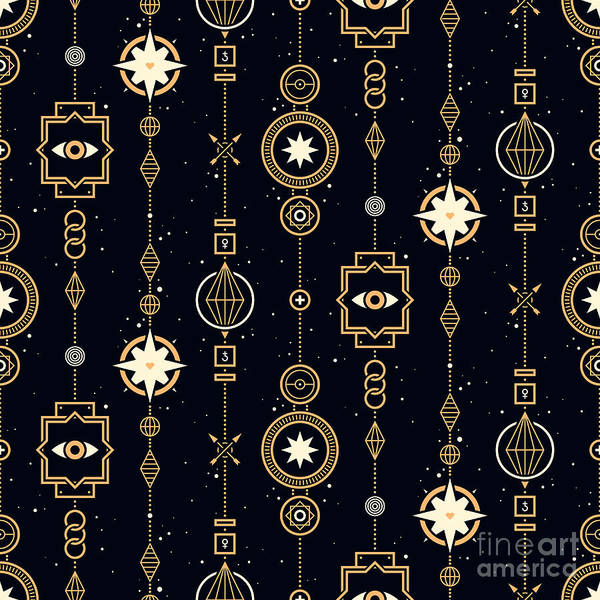 Wall Art - Digital Art - Seamless Pattern With Stars And Magical by Leonid Zarubin