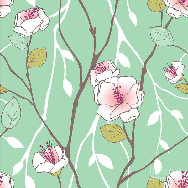 Feminine Wall Art - Digital Art - Seamless Pattern With Styled Spring by Lozas