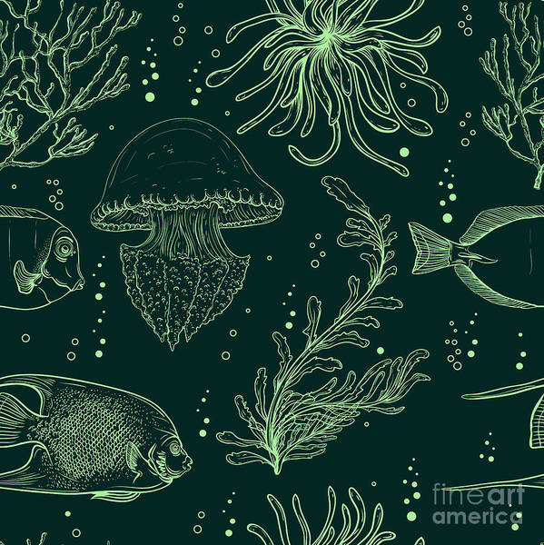 Wall Art - Digital Art - Seamless Pattern With Tropical Fish by Nikolayenko Yekaterina