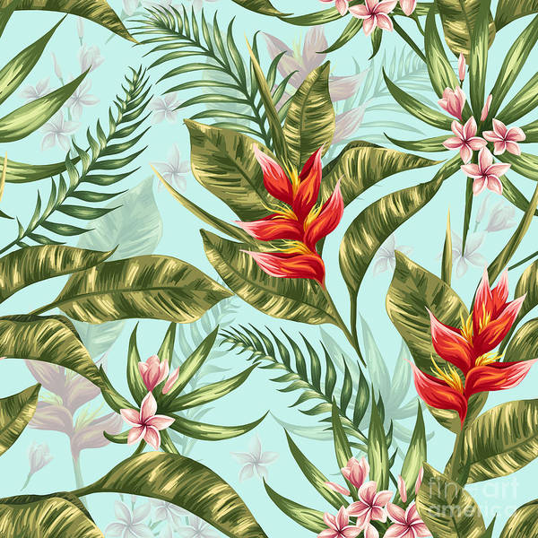 Hawaiian Wall Art - Digital Art - Seamless Pattern With Tropical Flowers by Hoverfly