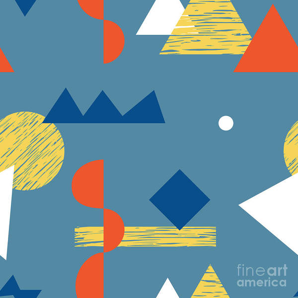 Wall Art - Digital Art - Seamless Pattern With Various Geometric by Radiocat