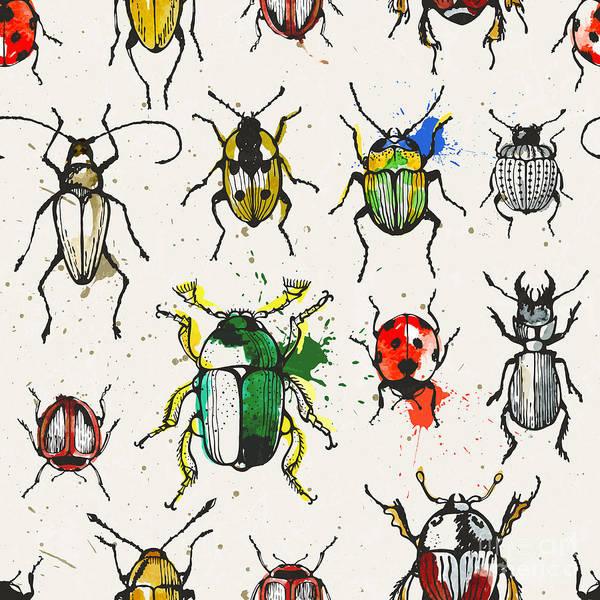 Fauna Digital Art - Seamless Pattern With Watercolor by Ev-da