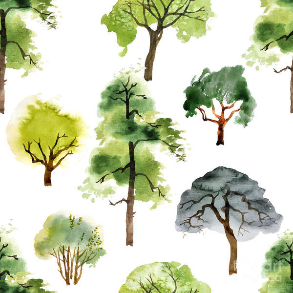 Wall Art - Digital Art - Seamless Pattern With Watercolor Trees by Mart