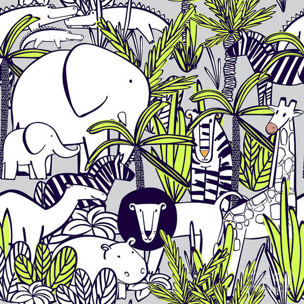 Wall Art - Digital Art - Seamless Pattern With Wild Animals by Yulya Shmidt