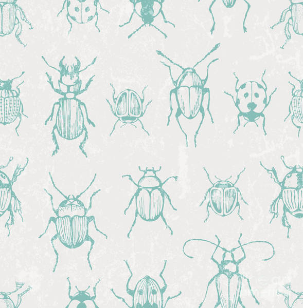 Wall Art - Digital Art - Seamless Print With Bugs. Eps 10 Vector by Ev-da