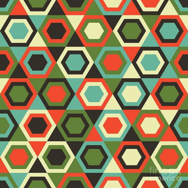 Wall Art - Digital Art - Seamless Retro Geometric Pattern by Tracie Andrews