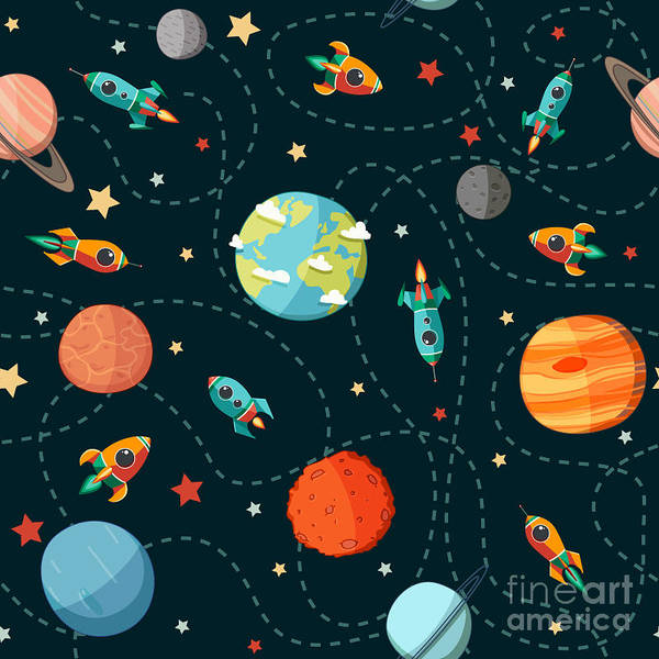 Astronaut Digital Art - Seamless Space Pattern. Planets by Motuwe