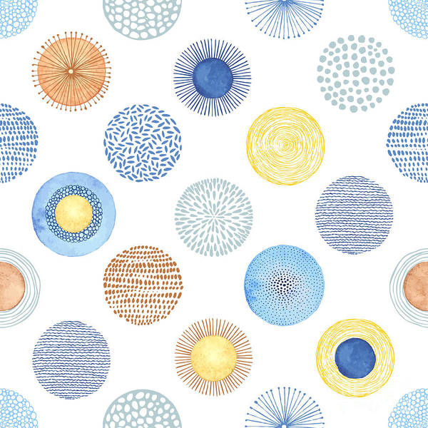 Wall Art - Digital Art - Seamless Summer Pattern With Hand-drawn by Nikiparonak