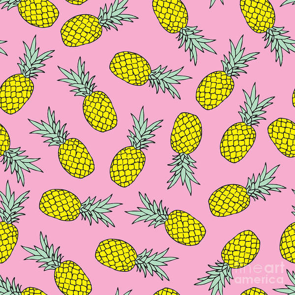 Wall Art - Digital Art - Seamless Tossed Summer Pineapple Fruit by Maaike Boot