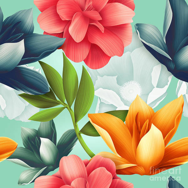 Wall Art - Digital Art - Seamless Tropical Flower, Plant Pattern by Mystel