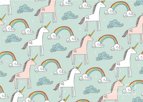 Unicorn Horn Digital Art - Seamless Unicorn Vectorillustration by Lyeyee