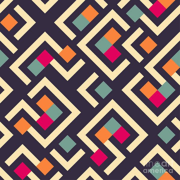 Cover Wall Art - Digital Art - Seamless Vector Geometric Pattern by Aksana Shum