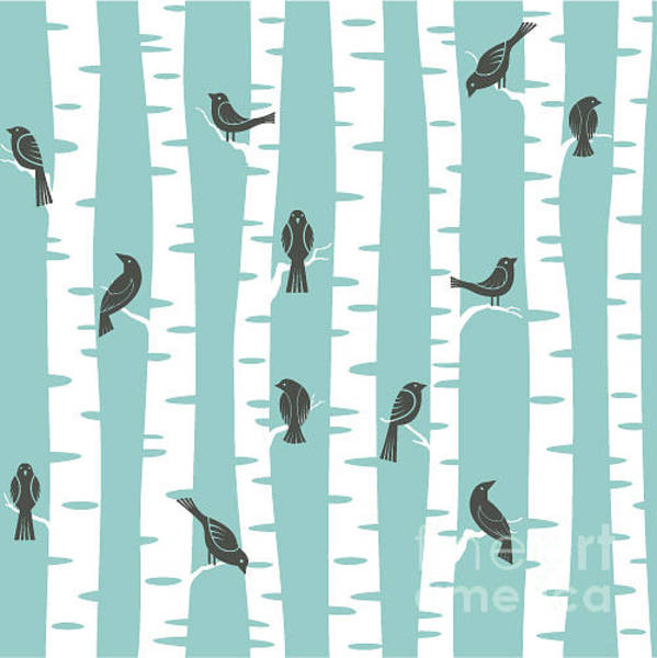 Wall Art - Digital Art - Seamless Vector Pattern With Birds And by Ku suriuri