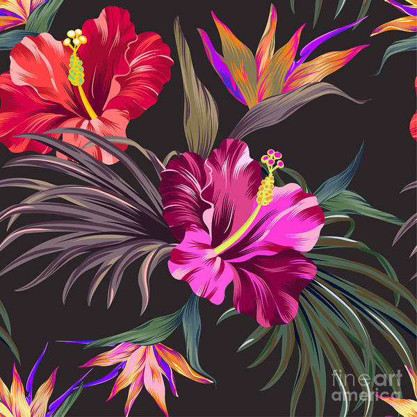 Brush Stroke Wall Art - Digital Art - Seamless Vector Tropical Pattern by Rosapompelmo
