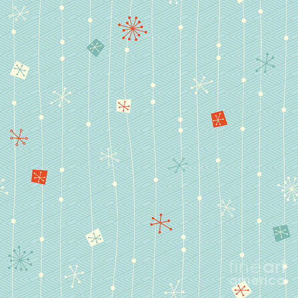 Wall Art - Digital Art - Seamless Vintage Winter Pattern by Orangeberry