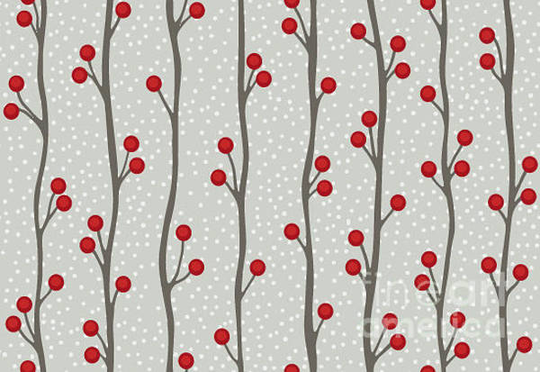 Vines Wall Art - Digital Art - Seamless Winter Berry Background by Beths