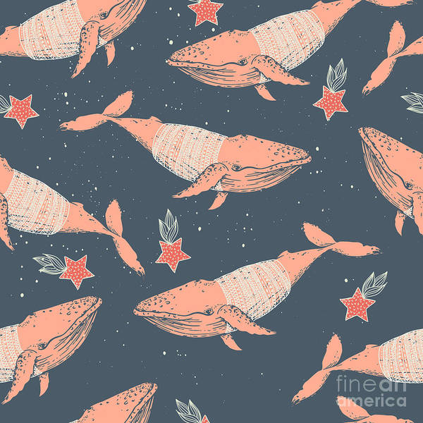 Wall Art - Digital Art - Seamless Winter Vector Pattern. Whales by Maria Sem
